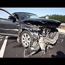Frontális baleset a 471-es főúton Nyíradony-Tamásipusztánál